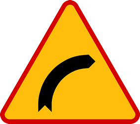 Traffic sign of Poland: Warning for a curve to the right