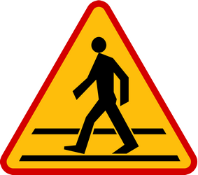Traffic sign of Poland: Warning for a crossing for pedestrians