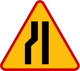 Traffic sign of Poland: Warning for a road narrowing on the left