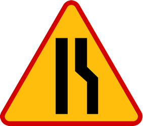 Traffic sign of Poland: Warning for a road narrowing on the right
