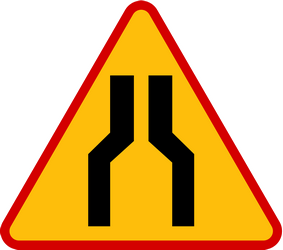 Traffic sign of Poland: Warning for a road narrowing