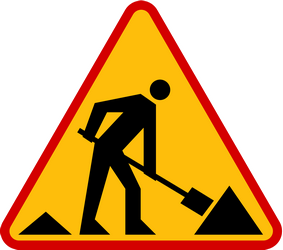 Traffic sign of Poland: Warning for roadworks