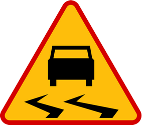 Traffic sign of Poland: Warning for a slippery road surface