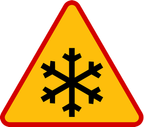 Traffic sign of Poland: Warning for snow and sleet