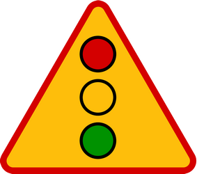 Traffic sign of Poland: Warning for a traffic light