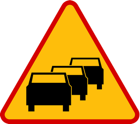 Traffic sign of Poland: Warning for traffic jams