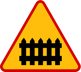 Traffic sign of Poland: Warning for a railroad crossing with barriers