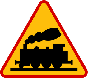 Traffic sign of Poland: Warning for a railroad crossing without barriers