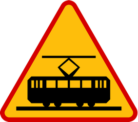Traffic sign of Poland: Warning for trams