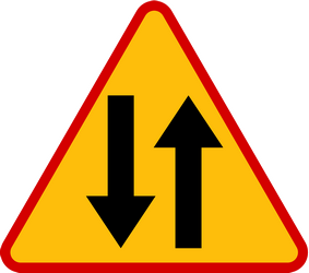 Traffic sign of Poland: Warning for a road with two-way traffic