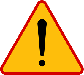 Traffic sign of Poland: Warning for a danger with no specific traffic sign