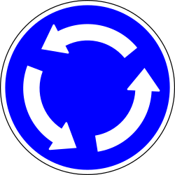 Traffic sign of Portugal: Mandatory direction of the roundabout