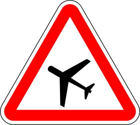 Traffic sign of Portugal: Warning for low-flying aircrafts