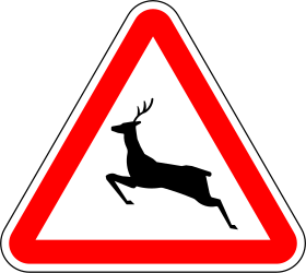 Traffic sign of Portugal: Warning for crossing deer