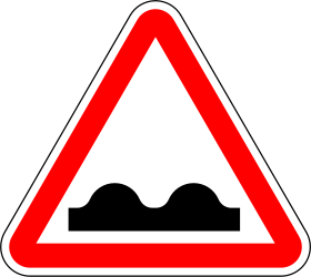 Traffic sign of Portugal: Warning for a bad road surface