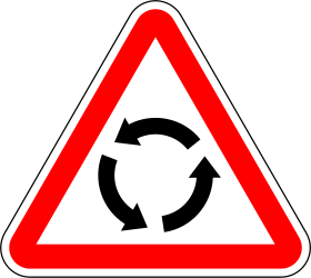 Traffic sign of Portugal: Warning for a roundabout