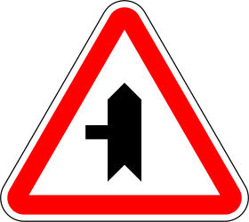 Traffic sign of Portugal: Warning for a crossroad with a side road on the left