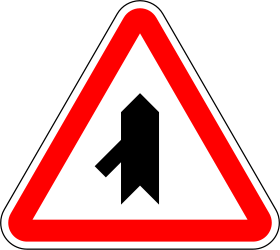Traffic sign of Portugal: Warning for a crossroad with a sharp side road on the left