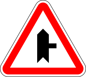 Traffic sign of Portugal: Warning for side road on the right