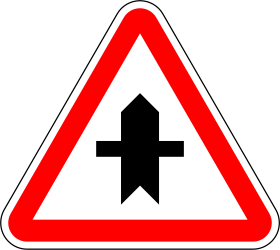 Traffic sign of Portugal: Warning for a crossroad side roads on the left and right