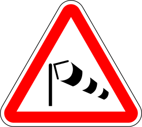 Traffic sign of Portugal: Warning for heavy crosswind