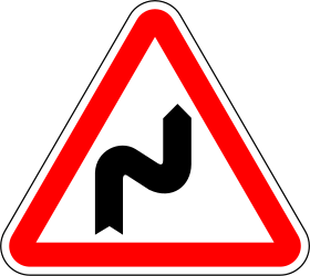 Traffic sign of Portugal: Warning for a double curve, first right then left