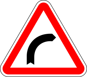 Traffic sign of Portugal: Warning for a curve to the right