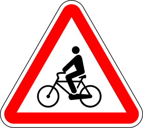 Traffic sign of Portugal: Warning for cyclists
