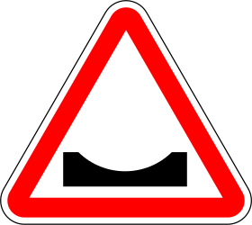 Traffic sign of Portugal: Warning for a dip in the road