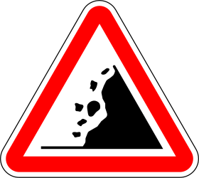 Traffic sign of Portugal: Warning for falling rocks
