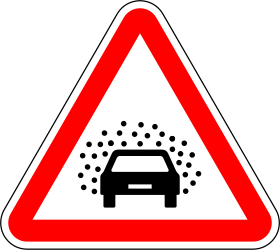 Traffic sign of Portugal: Warning of poor visibility due to rain, fog or snow