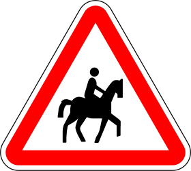 Traffic sign of Portugal: Warning for equestrians
