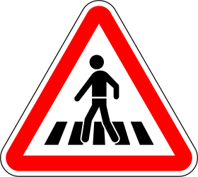 Traffic sign of Portugal: Warning for a crossing for pedestrians