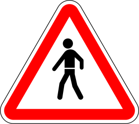 Traffic sign of Portugal: Warning for pedestrians
