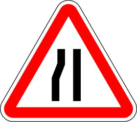 Traffic sign of Portugal: Warning for a road narrowing on the left