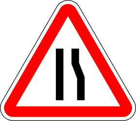 Traffic sign of Portugal: Warning for a road narrowing on the right