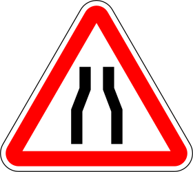 Traffic sign of Portugal: Warning for a road narrowing