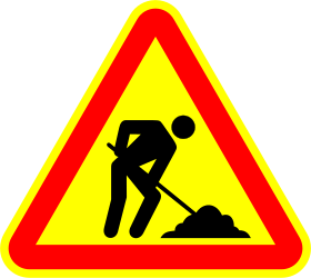 Traffic sign of Portugal: Warning for roadworks