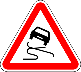 Traffic sign of Portugal: Warning for a slippery road surface