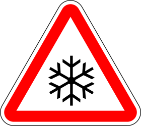 Traffic sign of Portugal: Warning for snow and sleet