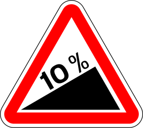 Traffic sign of Portugal: Warning for a steep ascent