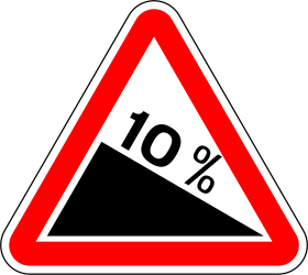 Traffic sign of Portugal: Warning for a steep descent