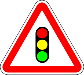 Traffic sign of Portugal: Warning for a traffic light