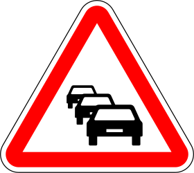 Traffic sign of Portugal: Warning for traffic jams