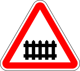 Traffic sign of Portugal: Warning for a railroad crossing with barriers