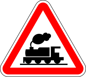 Traffic sign of Portugal: Warning for a railroad crossing without barriers
