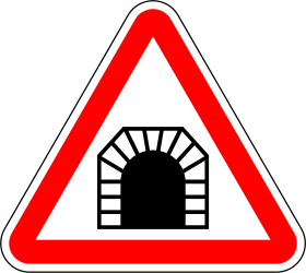 Traffic sign of Portugal: Warning for a tunnel