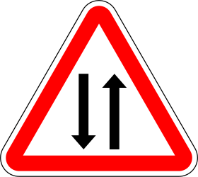 Traffic sign of Portugal: Warning for a road with two-way traffic