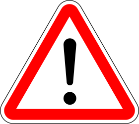 Traffic sign of Portugal: Warning for a danger with no specific traffic sign