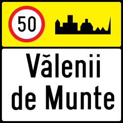 Traffic sign of Romania: Begin of a built-up area